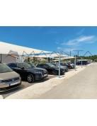 copertura tettoia a vela ombreggiante per parcheggi